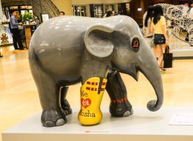 One of the sculptures commemorates Mosha, the baby elephant who inspired the Elephant Parade.