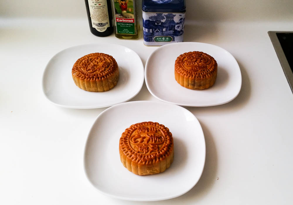 Traditional moon cakes have a filling of lotus paste and salted duck egg yolks.