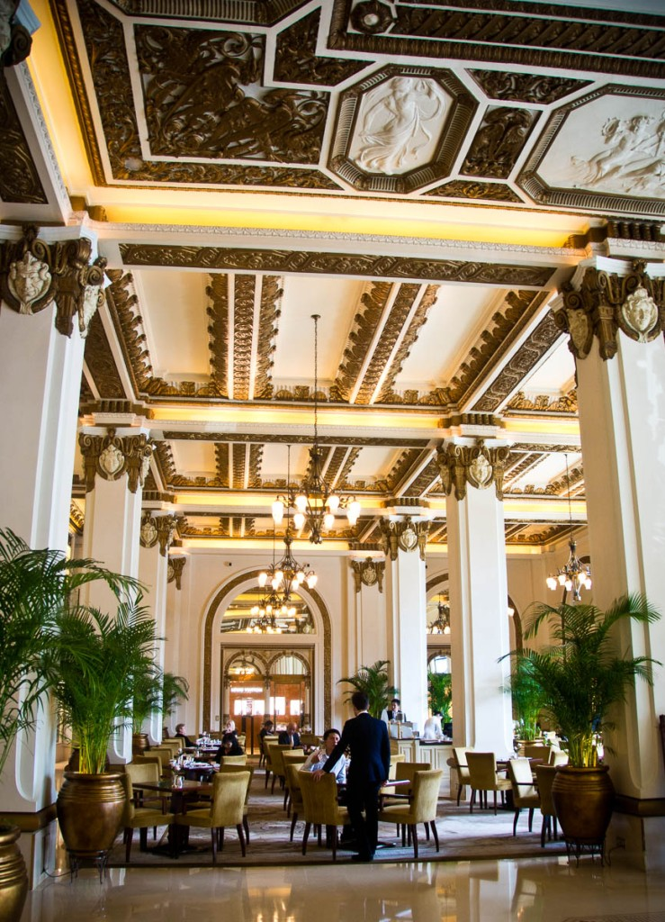 Tea is served in the grand lobby of the hotel.