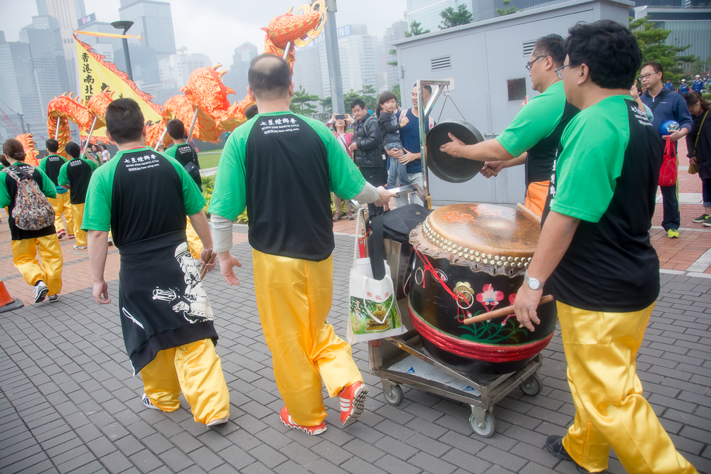 A drum contingent accompanies the dragon dance.
