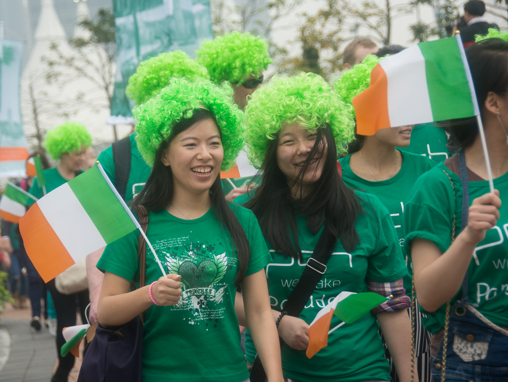 Parade participants get into the spirit by wearing' the green.